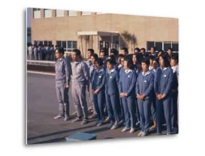 Workers Singing Firm's Song, Matsushita Electric, Japan-David Lomax-Metal Print