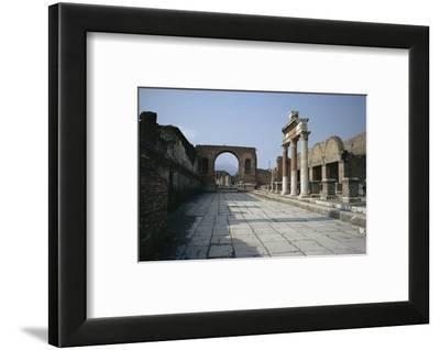Corner of Forum and Arch of Tiberius, Pompeii, UNESCO World Heritage Site, Campania, Italy-Walter Rawlings-Framed Photographic Print