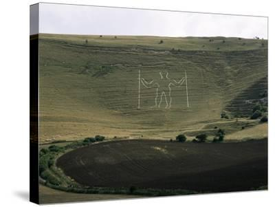 The Long Man, Wilmington, East Sussex, England, United Kingdom-Walter Rawlings-Stretched Canvas Print
