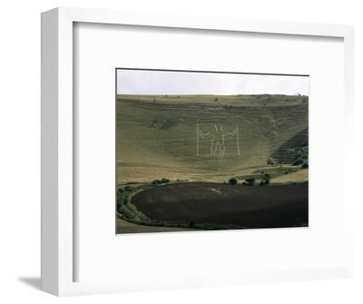 The Long Man, Wilmington, East Sussex, England, United Kingdom-Walter Rawlings-Framed Photographic Print