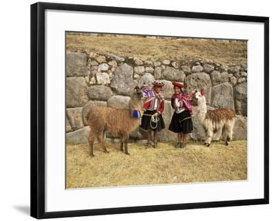 Local Women and Llamas in Front of Inca Ruins, Near Cuzco, Peru, South America-Gavin Hellier-Framed Photographic Print
