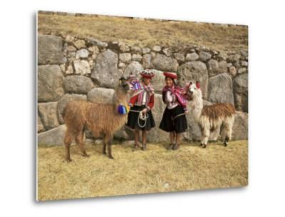 Local Women and Llamas in Front of Inca Ruins, Near Cuzco, Peru, South America-Gavin Hellier-Metal Print