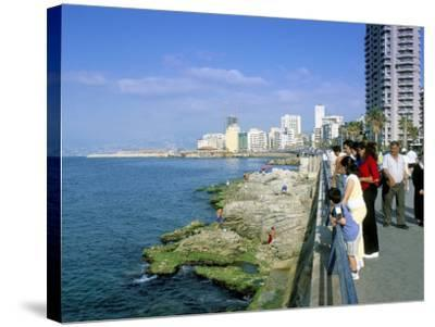 View of Waterfront and Downtown, El Manara Corniche, Beirut, Lebanon, Middle East-Gavin Hellier-Stretched Canvas Print