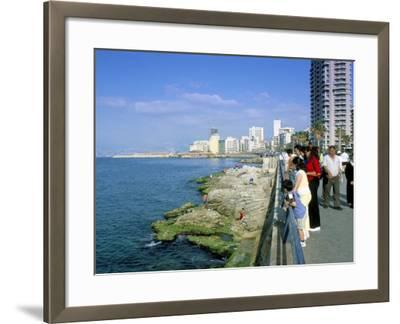 View of Waterfront and Downtown, El Manara Corniche, Beirut, Lebanon, Middle East-Gavin Hellier-Framed Photographic Print