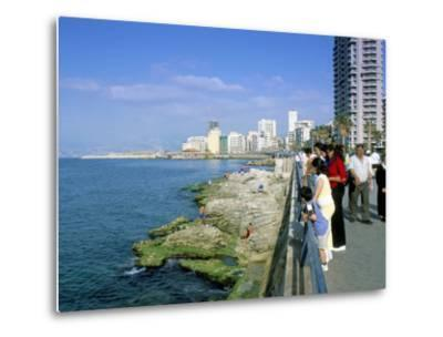 View of Waterfront and Downtown, El Manara Corniche, Beirut, Lebanon, Middle East-Gavin Hellier-Metal Print