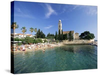 Franciscan Monastery and Beach, Hvar Town, Hvar Island, Dalmatia, Croatia-Gavin Hellier-Stretched Canvas Print