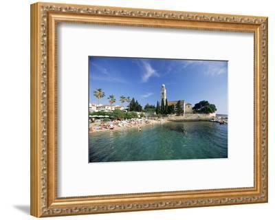 Franciscan Monastery and Beach, Hvar Town, Hvar Island, Dalmatia, Croatia-Gavin Hellier-Framed Photographic Print