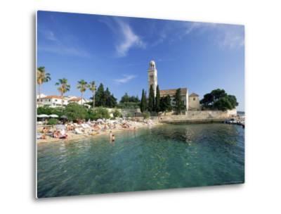 Franciscan Monastery and Beach, Hvar Town, Hvar Island, Dalmatia, Croatia-Gavin Hellier-Metal Print