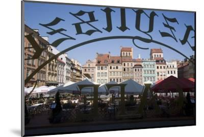 Colourful Houses of the Old Town Square Viewed Through a Cafe Window, Old Town, Poland-Gavin Hellier-Mounted Photographic Print