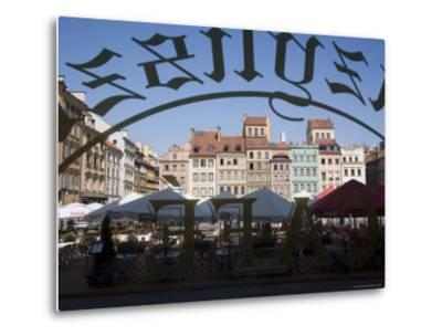 Colourful Houses of the Old Town Square Viewed Through a Cafe Window, Old Town, Poland-Gavin Hellier-Metal Print