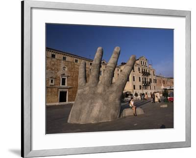 Stone Sculpture of Hand on Riva Degli Schiavoni, Venice, Veneto, Italy-Gavin Hellier-Framed Photographic Print