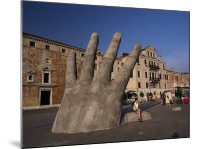 Stone Sculpture of Hand on Riva Degli Schiavoni, Venice, Veneto, Italy-Gavin Hellier-Mounted Photographic Print