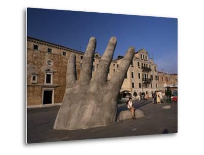 Stone Sculpture of Hand on Riva Degli Schiavoni, Venice, Veneto, Italy-Gavin Hellier-Metal Print