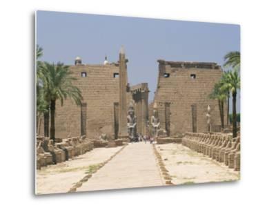 Avenue of Sphinxes Looking Towards Statues of Ramses II, Luxor Temple, Luxor, Thebes, Egypt-Gavin Hellier-Metal Print