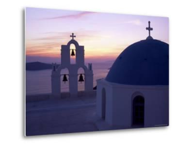 Greek Orthodox Church in Fira, Santorini (Thira), Cyclades Islands, Greece-Gavin Hellier-Metal Print