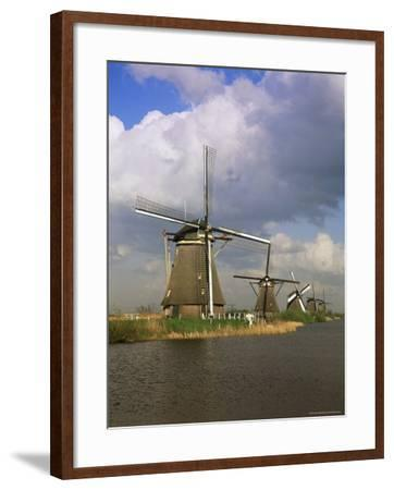 Canal and Windmills at Kinderdijk, Unesco World Heritage Site, Holland-Gavin Hellier-Framed Photographic Print