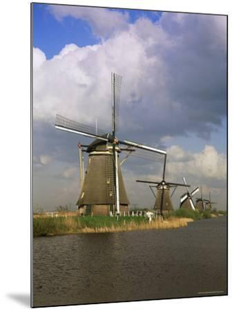 Canal and Windmills at Kinderdijk, Unesco World Heritage Site, Holland-Gavin Hellier-Mounted Photographic Print