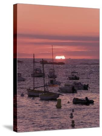 Sunset Over Boats Moored at Sea, Tregastel, Cote De Granit Rose, Cotes d'Armor, Brittany, France-David Hughes-Stretched Canvas Print