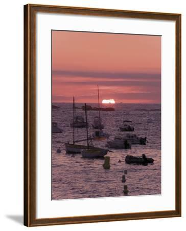 Sunset Over Boats Moored at Sea, Tregastel, Cote De Granit Rose, Cotes d'Armor, Brittany, France-David Hughes-Framed Photographic Print