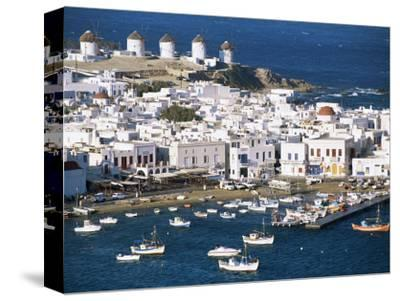 Town, Harbour and Windmills, Mykonos Town, Island of Mykonos, Cyclades, Greece-Lee Frost-Stretched Canvas Print