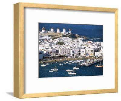 Town, Harbour and Windmills, Mykonos Town, Island of Mykonos, Cyclades, Greece-Lee Frost-Framed Photographic Print