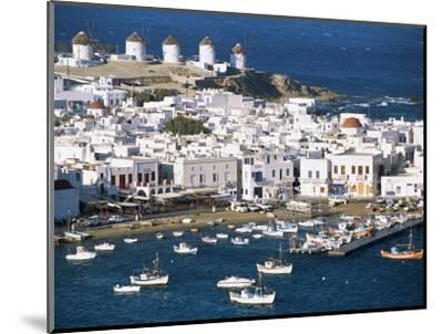 Town, Harbour and Windmills, Mykonos Town, Island of Mykonos, Cyclades, Greece-Lee Frost-Mounted Photographic Print