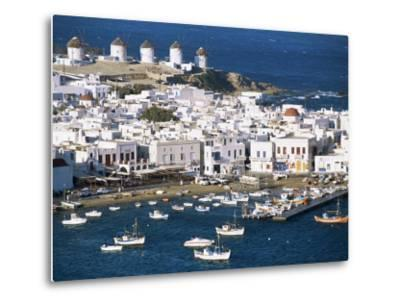 Town, Harbour and Windmills, Mykonos Town, Island of Mykonos, Cyclades, Greece-Lee Frost-Metal Print