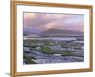 View Towards the Isle of Lewis and Old Schoolhouse, Taransay, Outer Hebrides, Scotland-Lee Frost-Framed Photographic Print