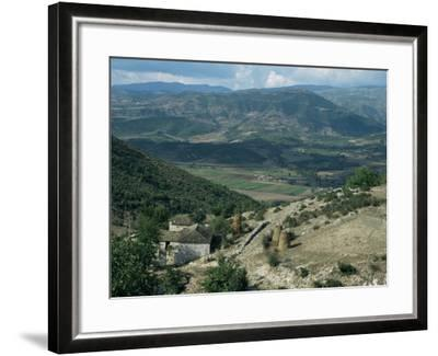 Small Farm in Foreground and Vjosa Valley Beyond, Albania-David Poole-Framed Photographic Print