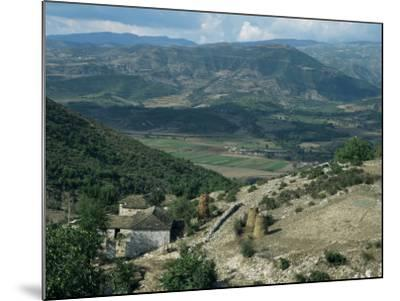Small Farm in Foreground and Vjosa Valley Beyond, Albania-David Poole-Mounted Photographic Print