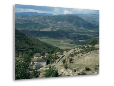Small Farm in Foreground and Vjosa Valley Beyond, Albania-David Poole-Metal Print