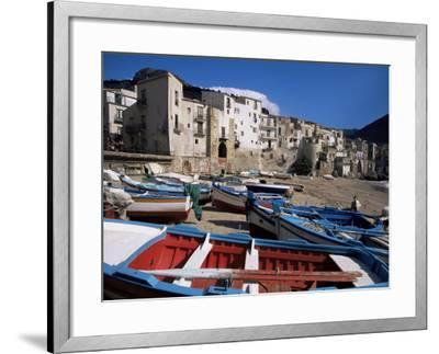 Fishing Harbour and Porta Pescara Beyond, Cefalu, Island of Sicily, Italy, Mediterranean-Julian Pottage-Framed Photographic Print
