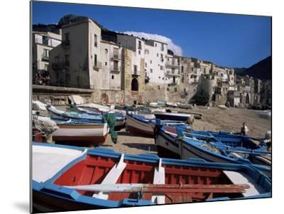 Fishing Harbour and Porta Pescara Beyond, Cefalu, Island of Sicily, Italy, Mediterranean-Julian Pottage-Mounted Photographic Print