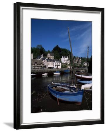Blue Sailing Dinghy and River Aven, Pont-Aven, Brittany, France-Julian Pottage-Framed Photographic Print