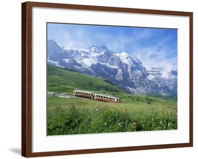 Jungfrau Railway and the Jungfrau, 13642 Ft., Bernese Oberland, Swiss Alps, Switzerland-Hans Peter Merten-Framed Photographic Print