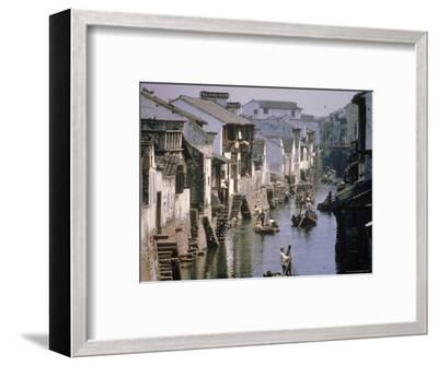 Ancient Canal in the City, Part of the Great Canal, the Longest in China, Soochow (Suzhou), China-Ursula Gahwiler-Framed Photographic Print