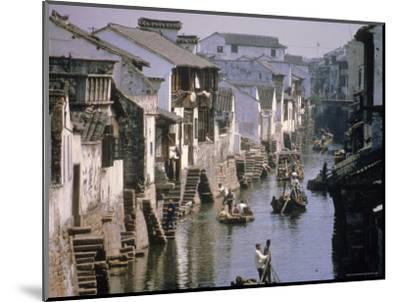 Ancient Canal in the City, Part of the Great Canal, the Longest in China, Soochow (Suzhou), China-Ursula Gahwiler-Mounted Photographic Print