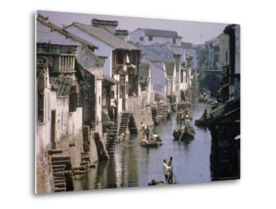 Ancient Canal in the City, Part of the Great Canal, the Longest in China, Soochow (Suzhou), China-Ursula Gahwiler-Metal Print