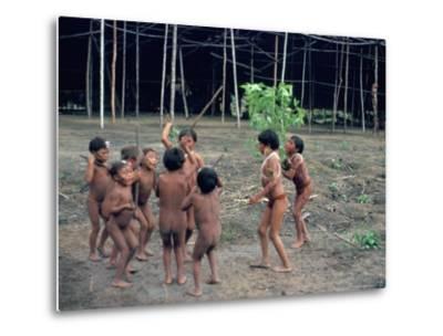 Yanomami Children, Brazil, South America-Robin Hanbury-tenison-Metal Print