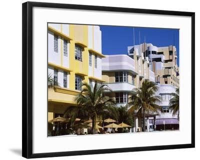 Art Deco District, Ocean Drive, Miami Beach, Florida, United States of America (Usa), North America-Amanda Hall-Framed Photographic Print