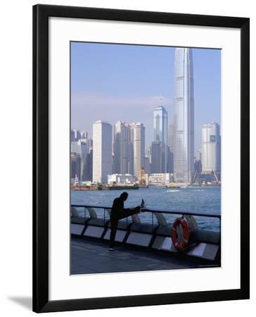 Morning Exercise, Victoria Harbour and Two Ifc Tower, Hong Kong, China-Amanda Hall-Framed Photographic Print
