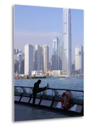Morning Exercise, Victoria Harbour and Two Ifc Tower, Hong Kong, China-Amanda Hall-Metal Print