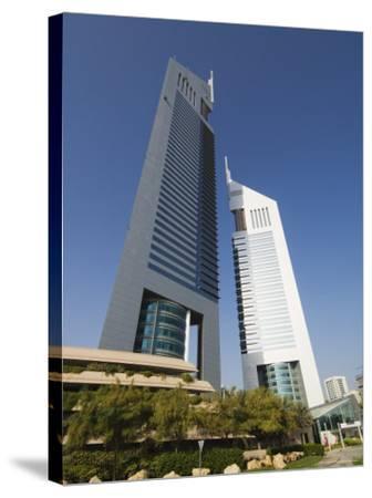 Emirates Towers, Sheikh Zayed Road, Dubai, United Arab Emirates, Middle East-Amanda Hall-Stretched Canvas Print
