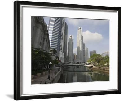 Cavenagh Bridge and the Singapore River Looking Towards the Financial District, Singapore-Amanda Hall-Framed Photographic Print