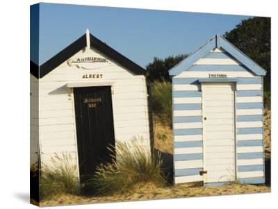 Old Beach Huts, Southwold, Suffolk, England, United Kingdom-Amanda Hall-Stretched Canvas Print