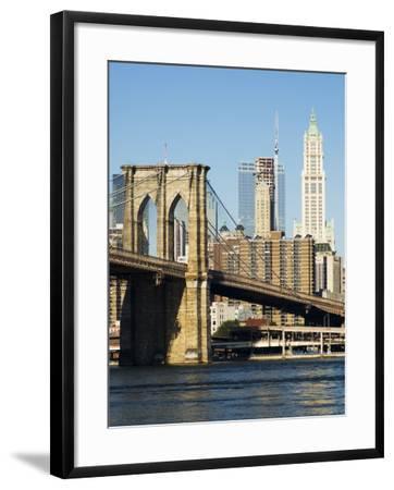 Brooklyn Bridge and Manhattan Skyline, New York City, New York, USA-Amanda Hall-Framed Photographic Print