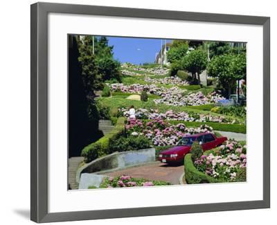 Driving Down Lombard Street, Russian Hill, California-Amanda Hall-Framed Photographic Print