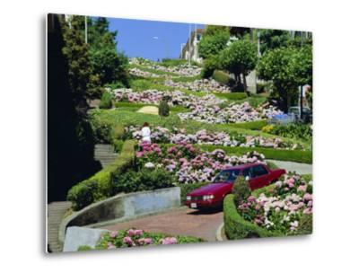 Driving Down Lombard Street, Russian Hill, California-Amanda Hall-Metal Print