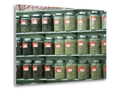 Dried Scallops in Jars, Dried Seafood Shop, Des Voeux Road West, Hong Kong Island, Hong Kong, China-Amanda Hall-Metal Print