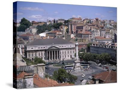 Aerial View of Rossio Square and City, Lisbon, Portugal-J Lightfoot-Stretched Canvas Print